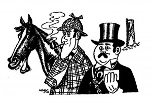 Henry Lauritzens tegning til galopløbene 1963 - Silver Blaze, Holmes, Watson, og Aalborg-tårnet i baggrunden.